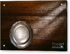 Antique Pewter Plate Acrylic Print by Olivier Le Queinec