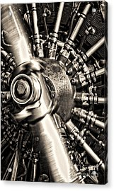 Antique Plane Engine Acrylic Print by Olivier Le Queinec