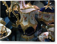 Antique Porcelain Coffee Set In Show Case Acrylic Print