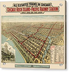 Antique Railroad Map Of Chicago - 1897 Acrylic Print by Blue Monocle