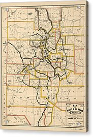 Antique Railroad Map Of Colorado And New Mexico By S. W. Eccles - 1881 Acrylic Print