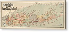 Antique Railroad Map Of Long Island By The American Bank Note Company - Circa 1895 Acrylic Print by Blue Monocle