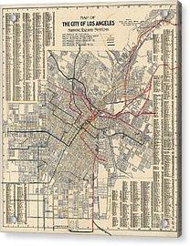 Antique Railroad Map Of Los Angeles - 1906 Acrylic Print