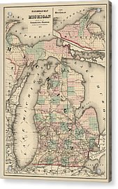 Antique Railroad Map Of Michigan By Colton And Co. - 1876 Acrylic Print