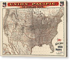 Antique Railroad Map Of The United States - Union Pacific - 1892 Acrylic Print by Blue Monocle