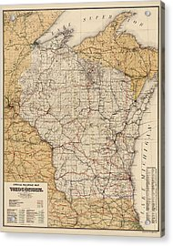 Antique Railroad Map Of Wisconsin - 1900 Acrylic Print
