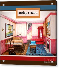 Antique Salon - Colonial Red And Blue Acrylic Print by Kristie Hubler