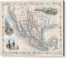 Antique Southwest Map 1851 Acrylic Print
