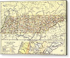 Antique State Of Tennessee Map 1888 Acrylic Print