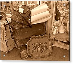 Antique Still Life With Baby Carriage And Other Objects In Sepia Acrylic Print by Valerie Garner