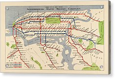 Antique Subway Map Of New York City - 1924 Acrylic Print by Blue Monocle
