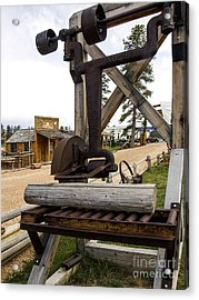 Acrylic Print featuring the photograph Antique Table Saw Tool Wood Cutting Machine by Paul Fearn
