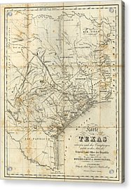 Antique Texas Map 1841 Acrylic Print by Dan Sproul