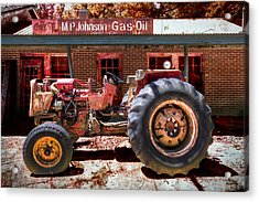 Antique Tractor Acrylic Print by Debra and Dave Vanderlaan