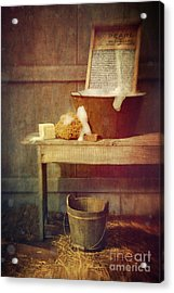 Antique Wash Tub With Soaps Acrylic Print by Sandra Cunningham