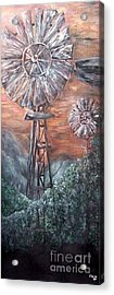 Antique Windmills At Dusk Acrylic Print by Eloise Schneider