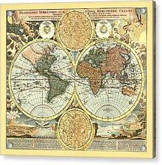 Antique World Mercator Map Acrylic Print by Gary Grayson