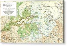 Antique Yosemite National Park Map Acrylic Print
