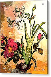 Antiqued Floral Watercolor Painting Acrylic Print