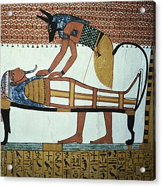 Anubis And A Mummy, From The Tomb Of Sennedjem, The Workers Village, New Kingdom Mural See Acrylic Print