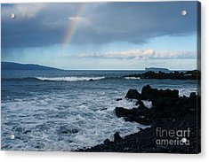 Anuenue - Rainbow Over  Alalakeiki Channel Kihei Maui Hawaii Acrylic Print by Sharon Mau