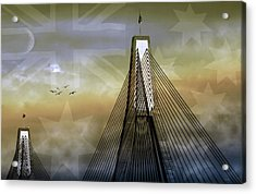 Acrylic Print featuring the photograph Anzac Bridge by Holly Kempe