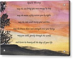 Apache Blessing With Sunset Acrylic Print