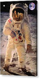 Apollo 11 Astronaut Painting Acrylic Print by Celestial Images