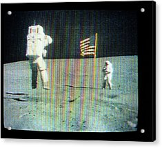 Apollo 16 Moon Walk Acrylic Print by Nasa
