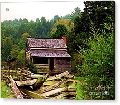 Appalachian Cabin With Fence Acrylic Print