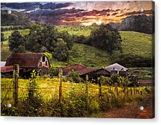 Appalachian Mountain Farm Acrylic Print by Debra and Dave Vanderlaan