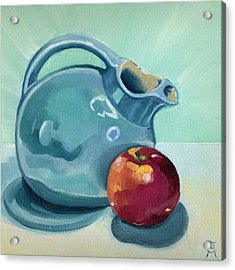 Acrylic Print featuring the painting Apple And Ball Pitcher by Katherine Miller