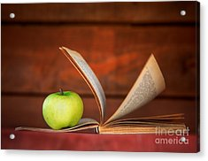 Apple And Book Acrylic Print by Michal Bednarek