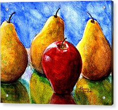 Apple And Three Pears Still Life Acrylic Print by Lenora  De Lude