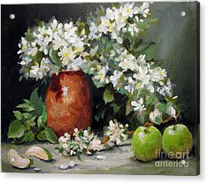 Acrylic Print featuring the painting Apple Blossoms by Carol Hart