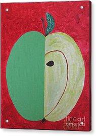 Apple In Two Greens 02 Acrylic Print by Dana Carroll