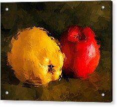 Apple Lemon Still Life Acrylic Print by Yury Malkov