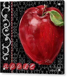 Apple On Black And White Acrylic Print by Shari Warren