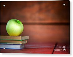 Apple On Pile Of Books Acrylic Print by Michal Bednarek