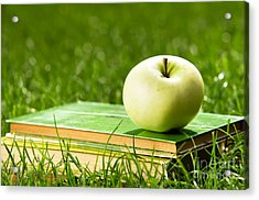 Apple On Pile Of Books On Grass Acrylic Print by Michal Bednarek