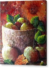 Acrylic Print featuring the painting Apple Picking Time by Megan Walsh