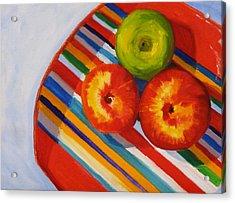 Apple Stripe Acrylic Print by Nancy Merkle