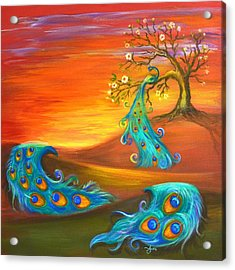 Acrylic Print featuring the painting Apple Tree With A Peacock by Agata Lindquist