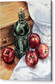 Acrylic Print featuring the painting Apples And A Bottle Of Liqueur by Joey Agbayani