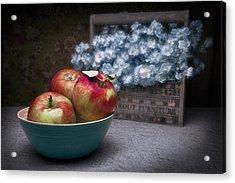 Apples And Flower Basket Still Life Acrylic Print by Tom Mc Nemar