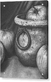 Apples In Stoneware Acrylic Print by Michelle Harrington