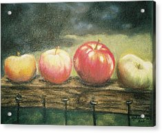 Apples On A Rail Acrylic Print