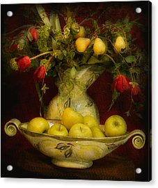 Apples Pears And Tulips Acrylic Print by Jeff Burgess
