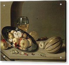 Apples Pears Peaches And Walnuts Acrylic Print by Ambrosius Bosschaert the Younger