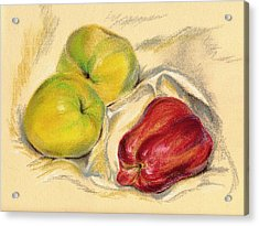 Acrylic Print featuring the pastel Apples - Yellow And Red by MM Anderson